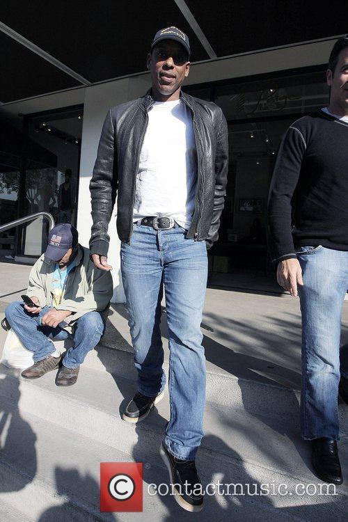 Orlando Jones leaving Newsroom Cafe after having lunch