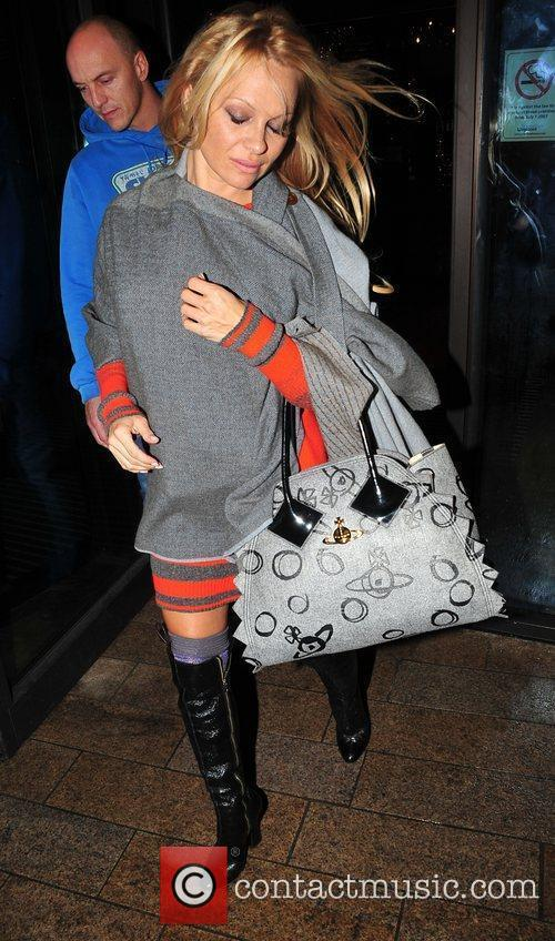 Pamela Anderson arriving to perform in the christmas...
