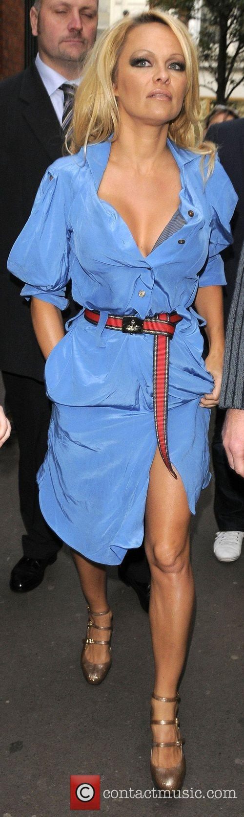 Pamela Anderson arriving at the London Transport Museum...