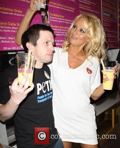 Pamela Anderson with Peta Exec Pamela Anderson launches...