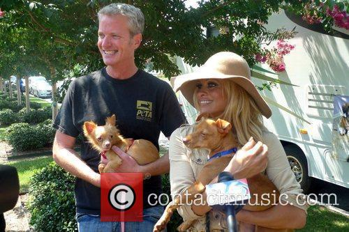 Pamela Anderson is pictured with PETA Senior Vice...