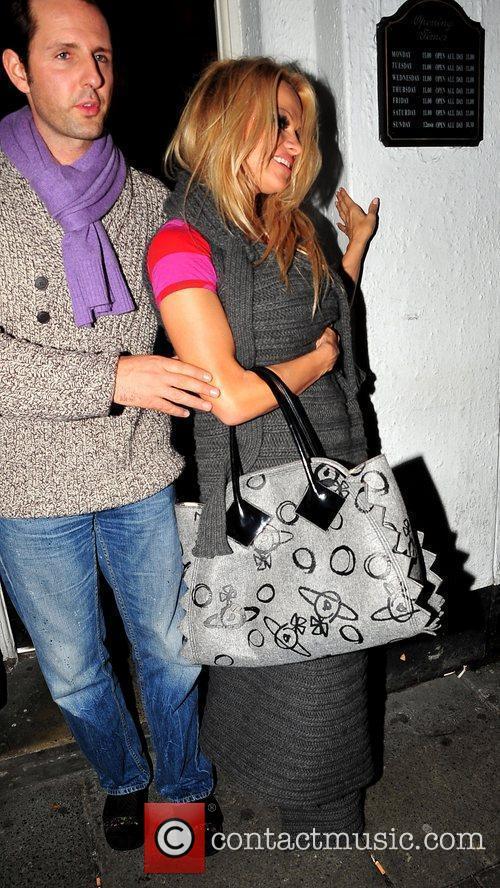 Pamela Anderson leaving Ma Egertons pub after celebrating...