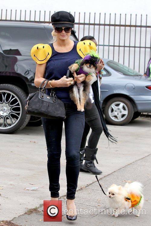 Paris Hilton with her dogs dressed in Halloween...