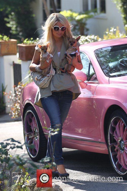 Paris Hilton arrives at a friends house with...