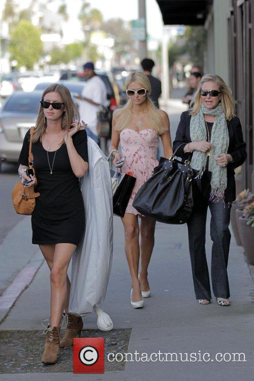Nicky, Paris and Kathy Hilton seen shopping on...
