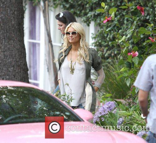 Paris Hilton during filming at Nick Hilton's home....