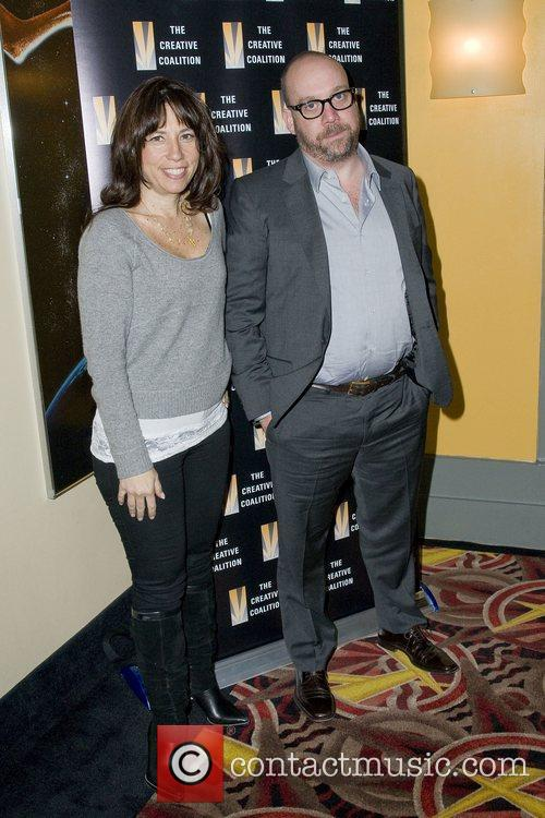 Robin Bronk and Paul Giamatti at a special...