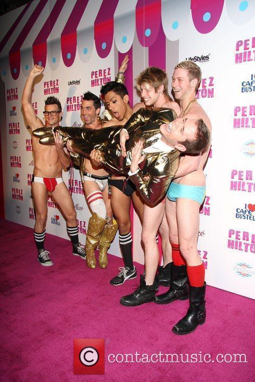 Perez Hilton with male models Perez Hilton's 'Carn-Evil'...