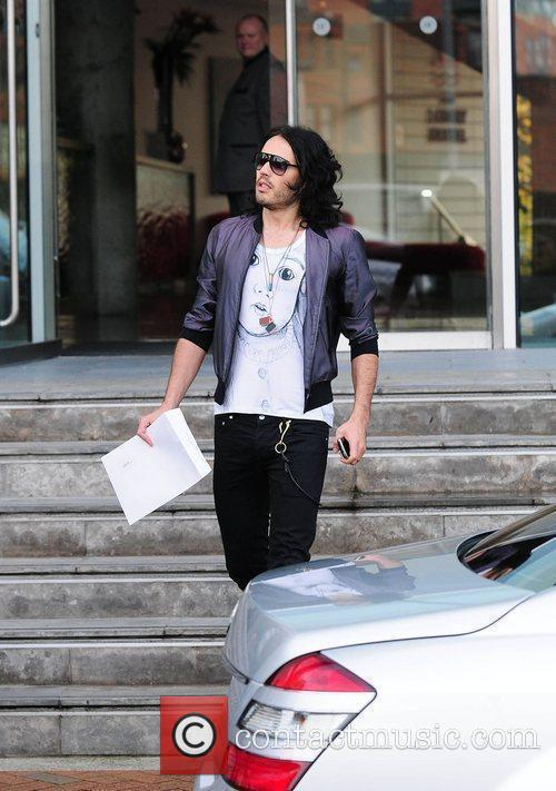Russell Brand leaving the Lowry hotel Manchester, England