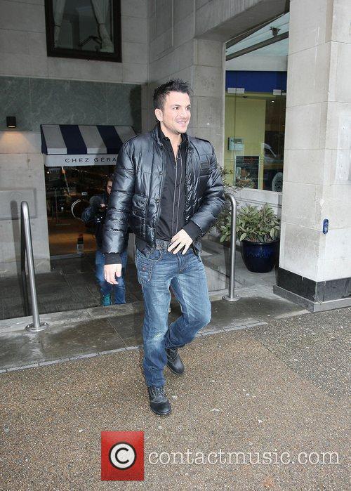 Peter Andre leaving Chez Gerard restaurant London, England