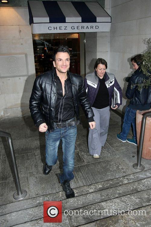 Peter Andre leaving Chez Gerard restaurant with his...