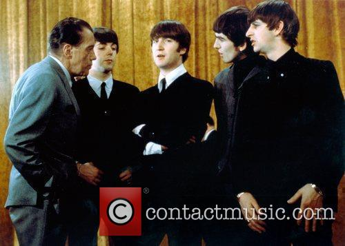 Ed Sullivan, George Harrison, John Lennon, Ringo Starr and Sir Paul Mccartney