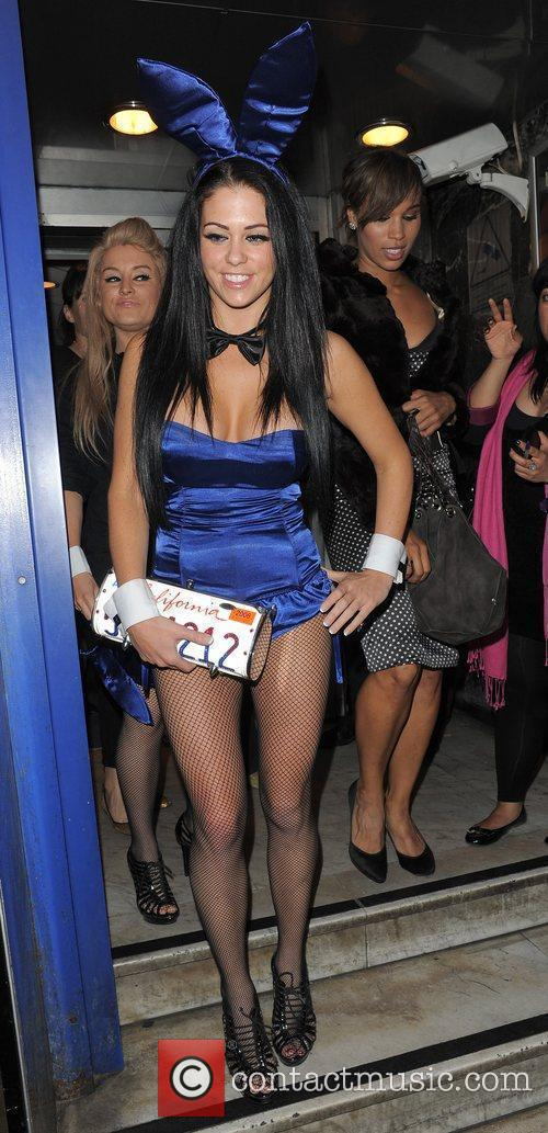 Bianca Gascoigne dressed as a bunny girl, leaving...