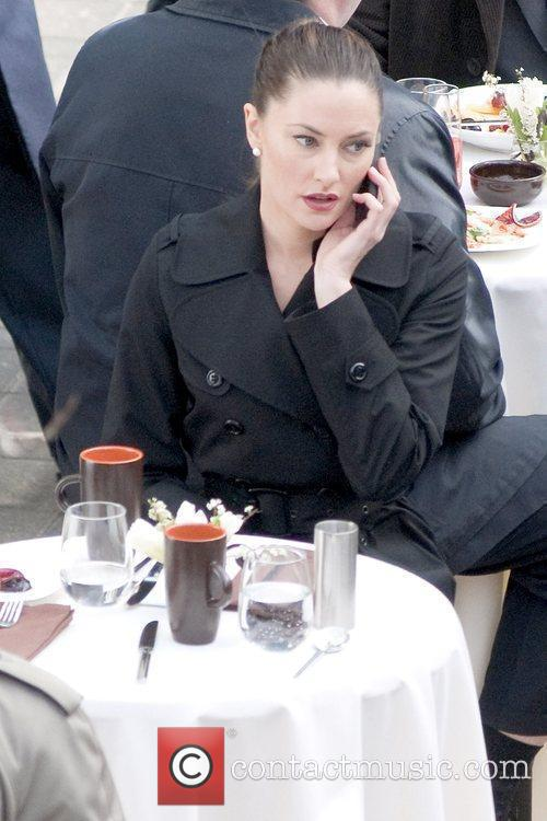 Madchen Amick on the set of the TV...