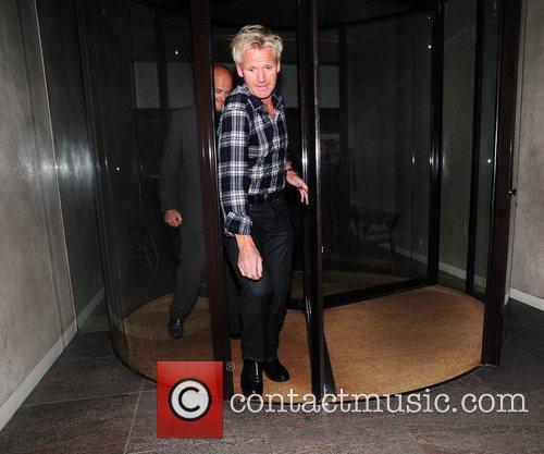 Gordon Ramsay is seen arriving at his restaurant...