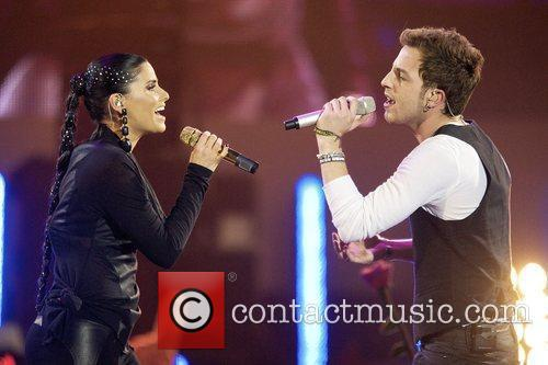 Nelly Furtado and James Morrison performing at the...