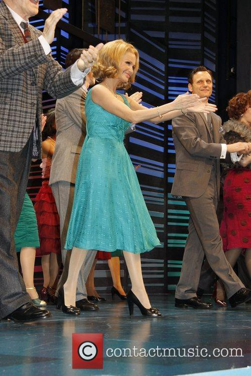 Kristin Chenoweth, Tony Goldwyn, cast on stage during the opening night for the musical 'Promises, Promises' at the Broadway Theatre - Curtain Call
