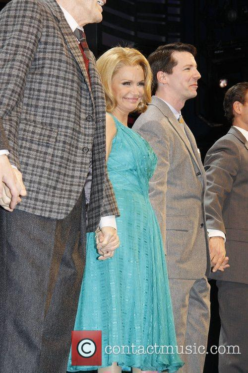 Kristin Chenoweth, Sean Hayes and cast on stage...