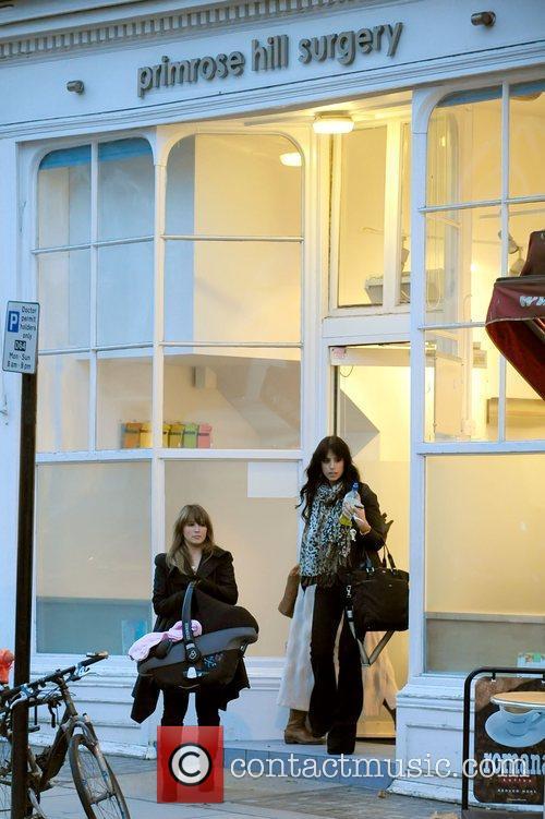 Rachel Stevens leaving the Primsrose Hill surgery carrying...