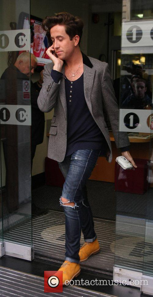 Nick Grimshaw outside the BBC Radio 1 studios...