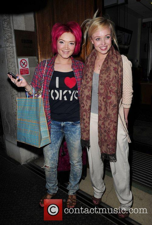 Hollyoaks actresses Hollie-Jay Bowes (L) and Jorgie Porter...