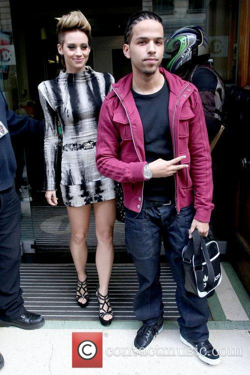 Kimberly Wyatt and Aggro Santos outside the BBC...