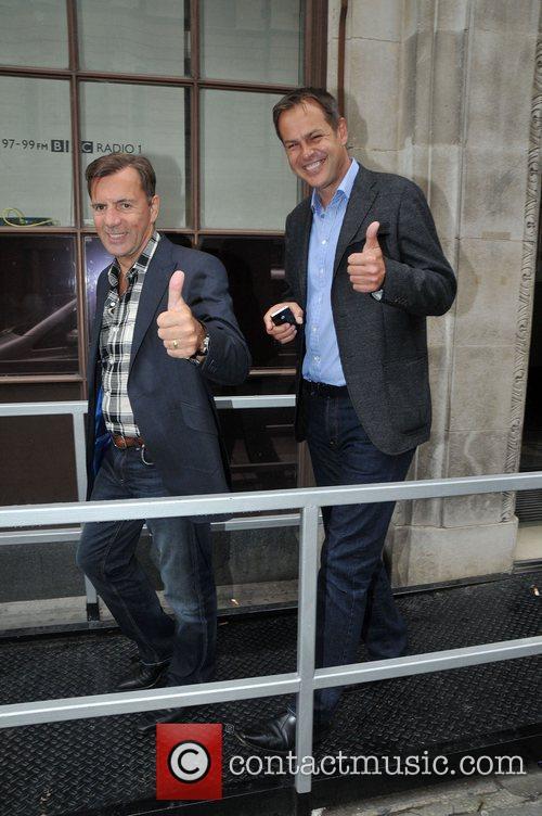 Duncan Bannatyne and Peter Jones outside the BBC...
