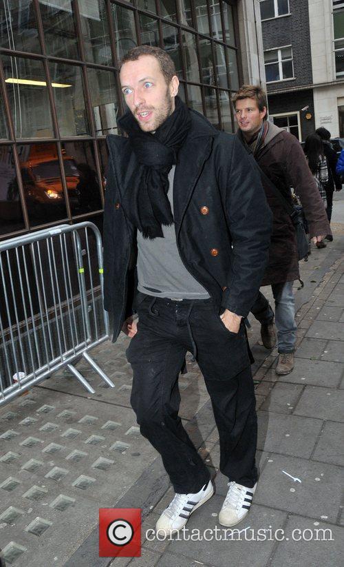 Chris Martin outside the BBC Radio 1 studios...
