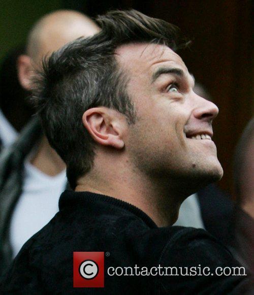 Robbie Williams outside the BBC Radio One studios...