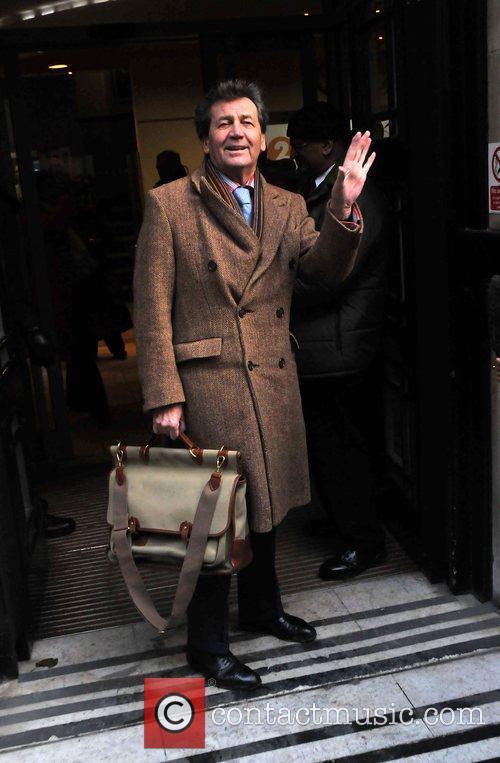 Melvyn Bragg leaving the BBC Radio 1 studios...