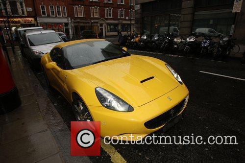 Chris Evans' yellow Ferrari outside the BBC Radio...