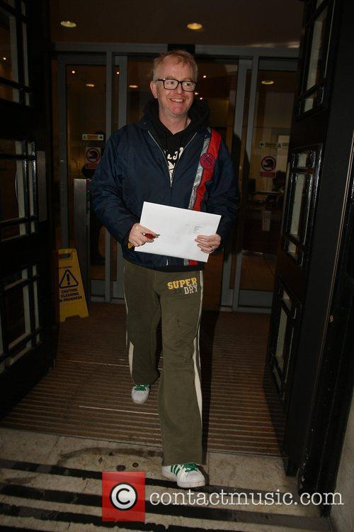 Chris Evans leaving the BBC Radio 2 studios...