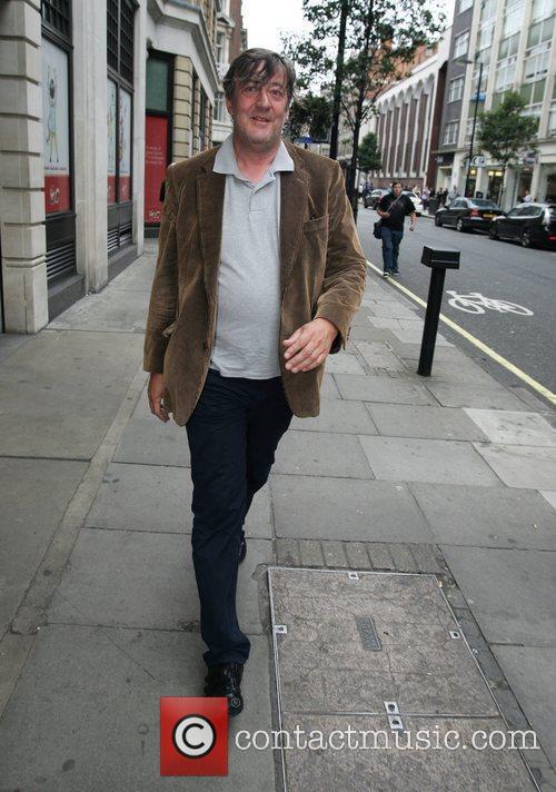 Stephen Fry outside the BBC Radio 1 studios...