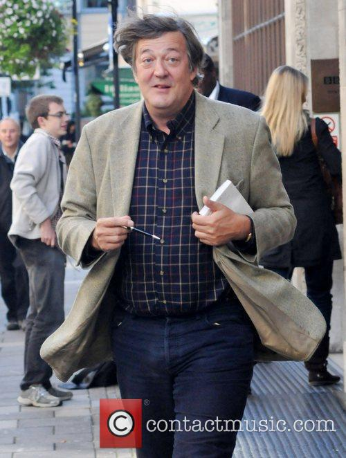 Stephen Fry outside at the BBC Radio One...