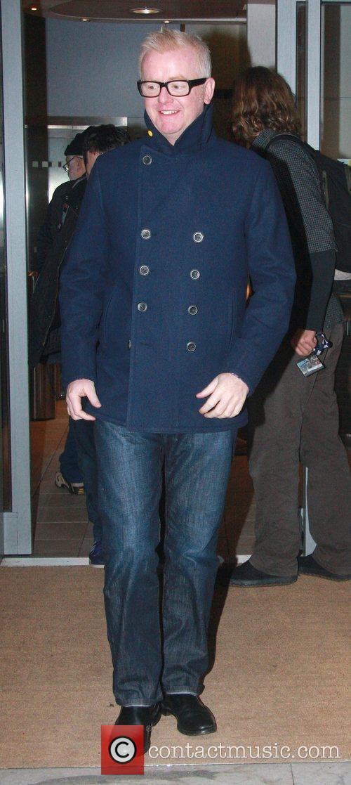 Chris Evans leaves the BBC Radio 2 studios...