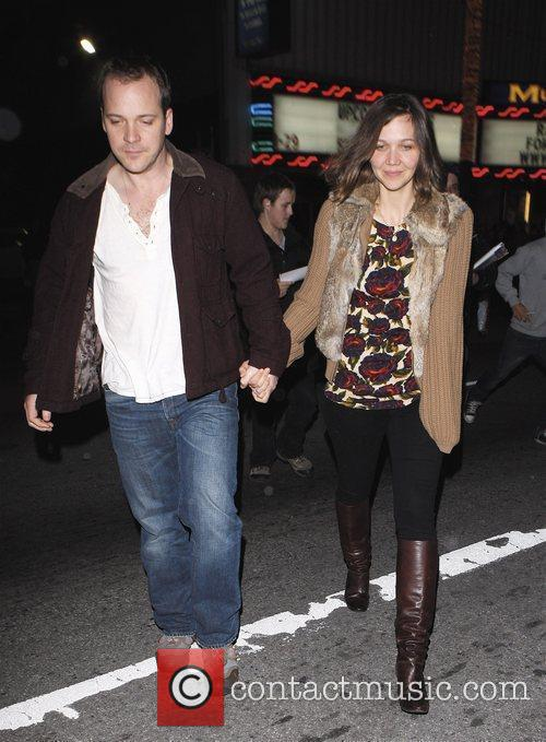Maggie Gyllenhaal and her fiance Peter Sarsgaard leaving...