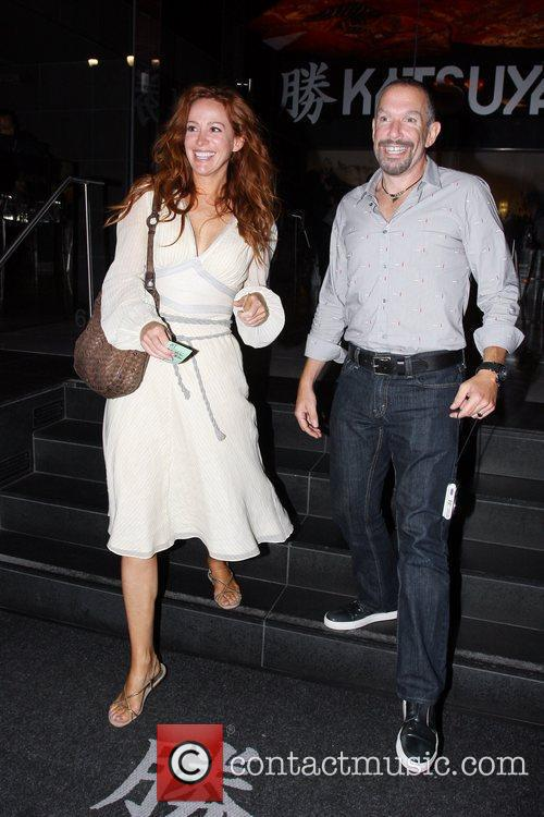 Leaving Katsuya restaurant in Hollywood with a friend