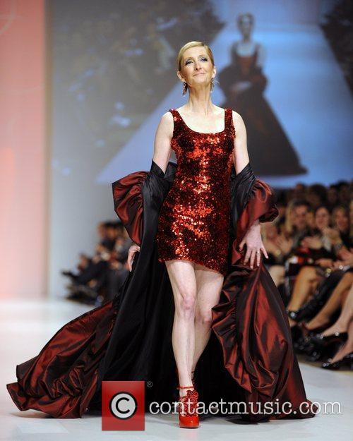 Sheila McCarthy wears a dress by Thien Le...