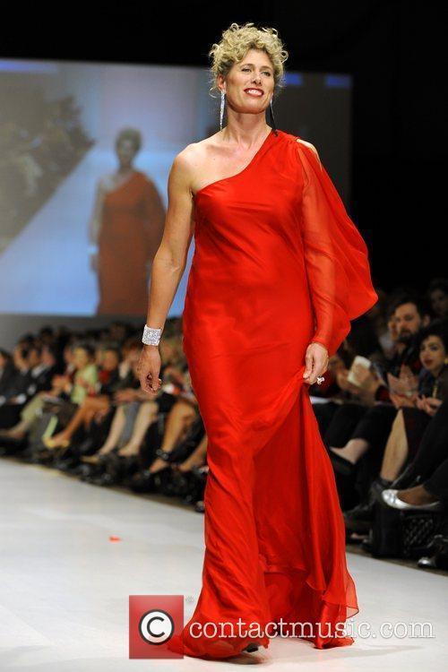 Silken Laumann wears a dress by Lundstrom Collection...