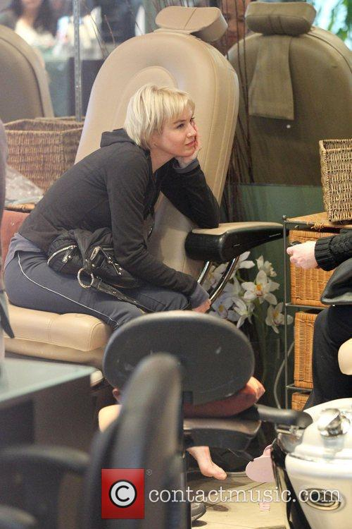 Renee Zellweger has a manicure and pedicure at...