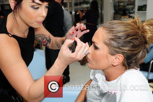 Cindy Taylor getting her make-up done 'Rev It...