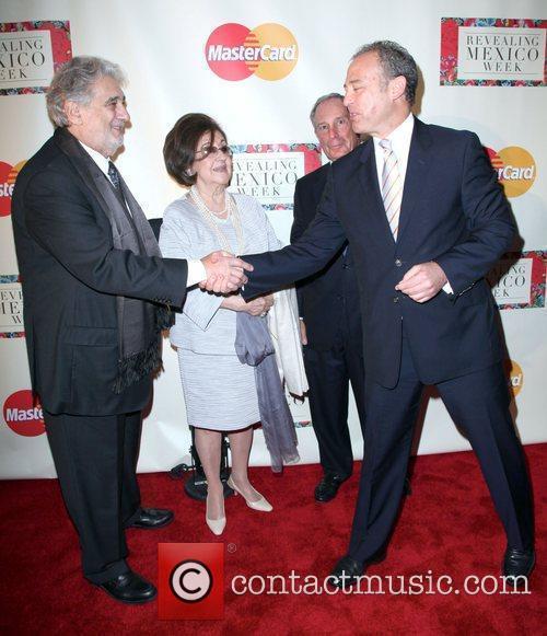 Placido Domingo, Michael Bloomberg and Mexican Ambassador Arturo...