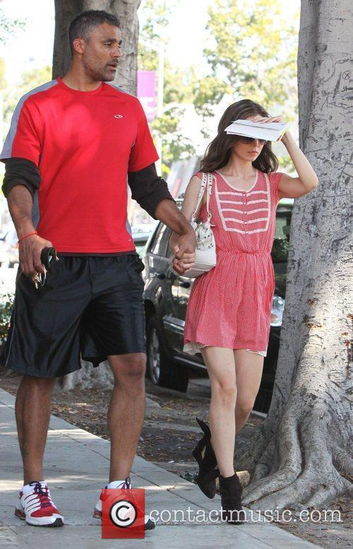 Rick Fox and Actress Eliza Dushku leaving Urth...