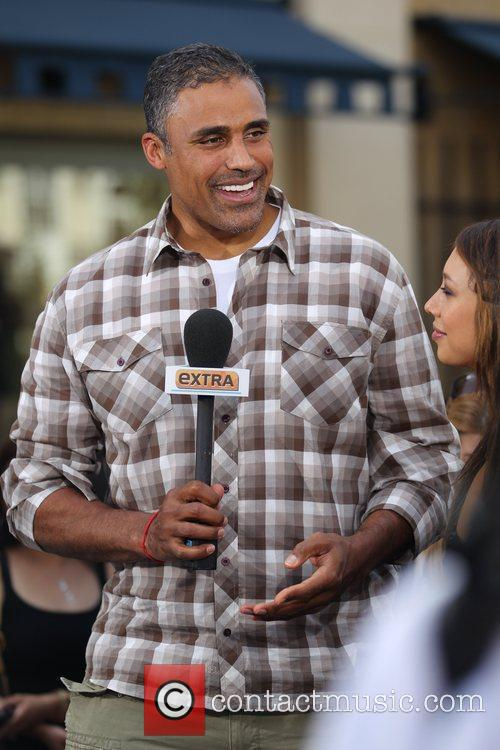 Rick Fox filming an interview for the entertainment...