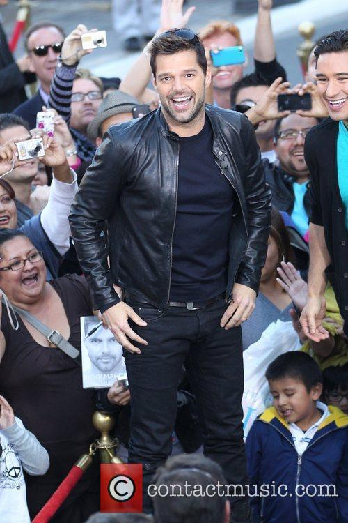 Ricky Martin films an interview for the entertainment...