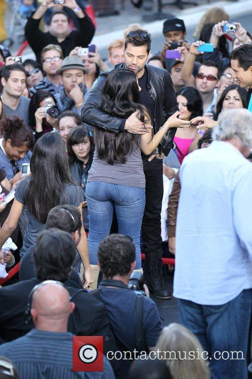 Courtney Laine Mazza and Ricky Martin during an...