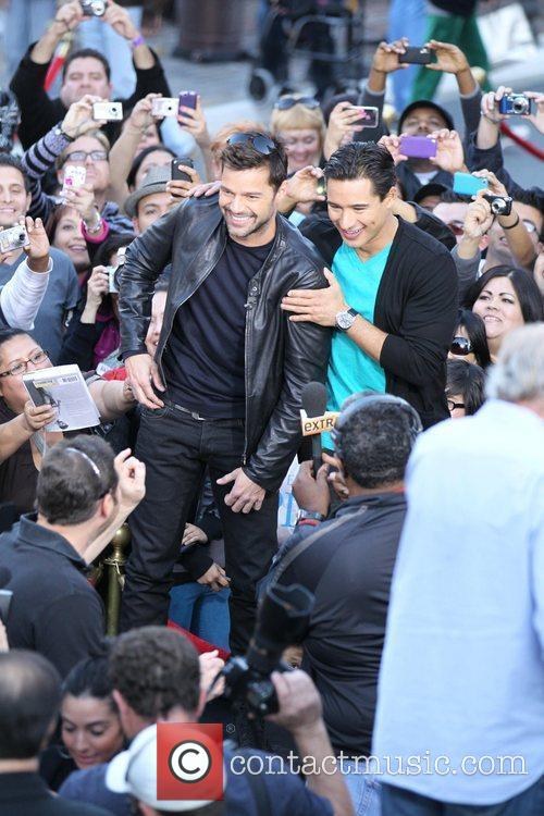 Ricky Martin and Mario Lopez during an interview...