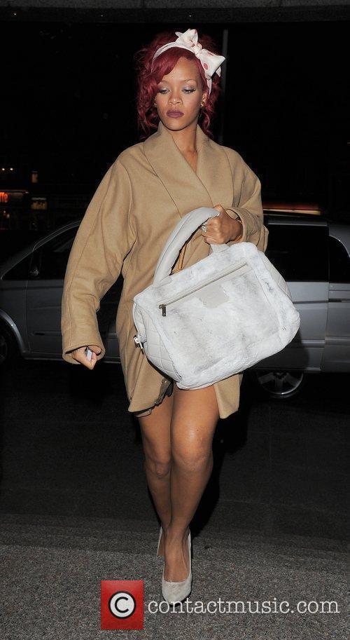 Rihanna arrives back at her hotel, having dined...
