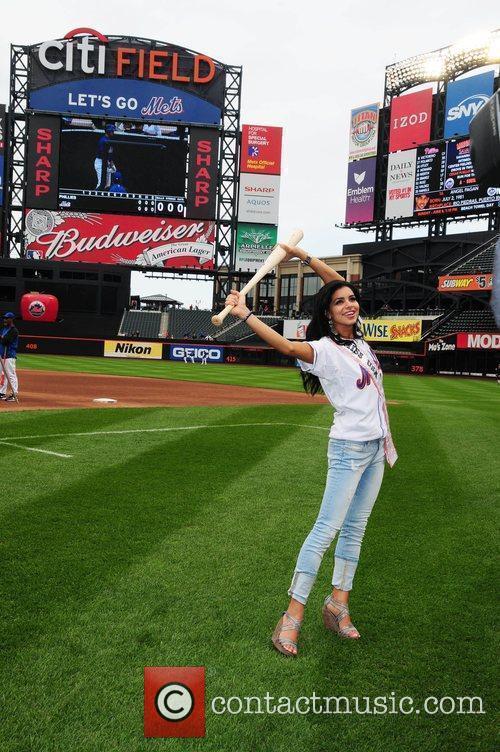 Miss USA 2010, Rima Fakih, attends batting practice...