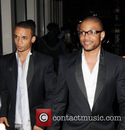 Aston Merrygold and Ortise Williams arrives at Rochelle...